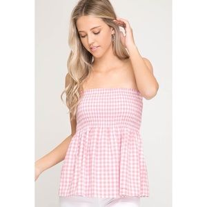 LAST ONE!! Pink Gingham Print Top